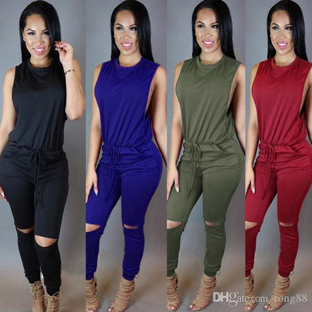 1263297a823 Women One Pieces Jumpsuit 2017 Autum New Casual Sleeveless Bandage Bodycon  Bodysuit Full Solid Female Romper AT066 UK 2019 From Rong88