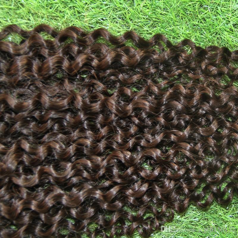 # 4 clip de rizado torcido marrón oscuro en extensiones de cabello clip africano americano en extensiones de cabello humano 100g Afro Kinky Curly Clip In