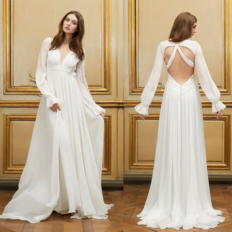 Discount Backless Long Puff Sleeve Bride Gowns Simple Long Chiffon Wedding  Dresses For Pregnant Women High Waist Robe De Mariage Pwd01 Wedding Dresses  China ...