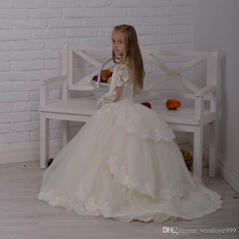 2017 Fashion Lace Long Sleeves Flower Girl Dresses Ball Gowns Appliques Layered Kids Formal Wear Gowns for Weddings Girls Pageant Dresses