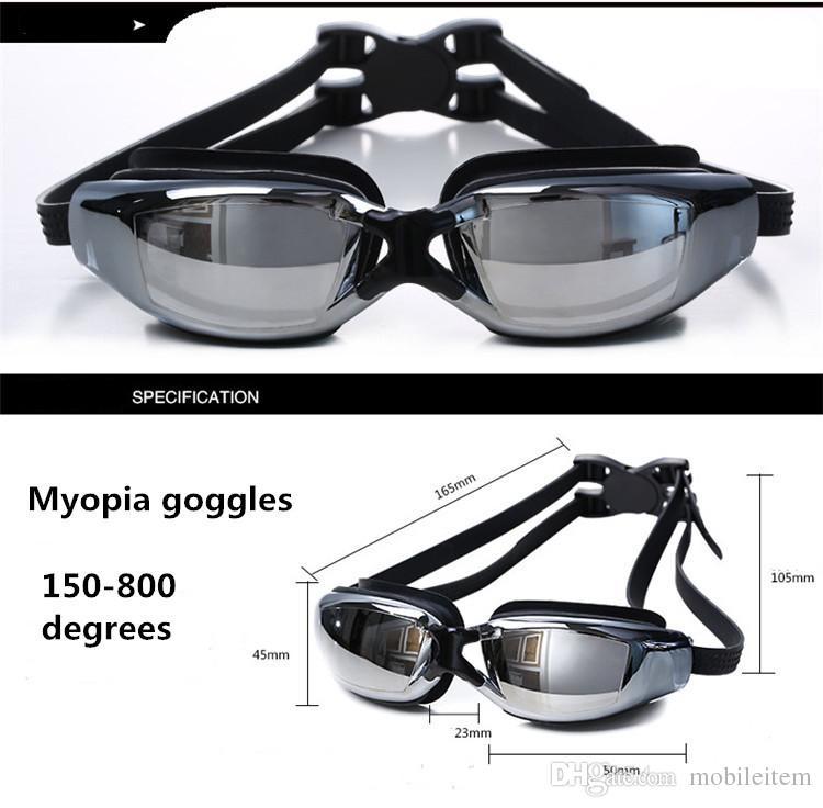 Óculos de miopia Esportes Aquáticos Natação À Prova D 'Água HD anti-nevoeiro óculos de natação óculos de Corrida Goggles chapeamento miopia E caixa de embalagem 426