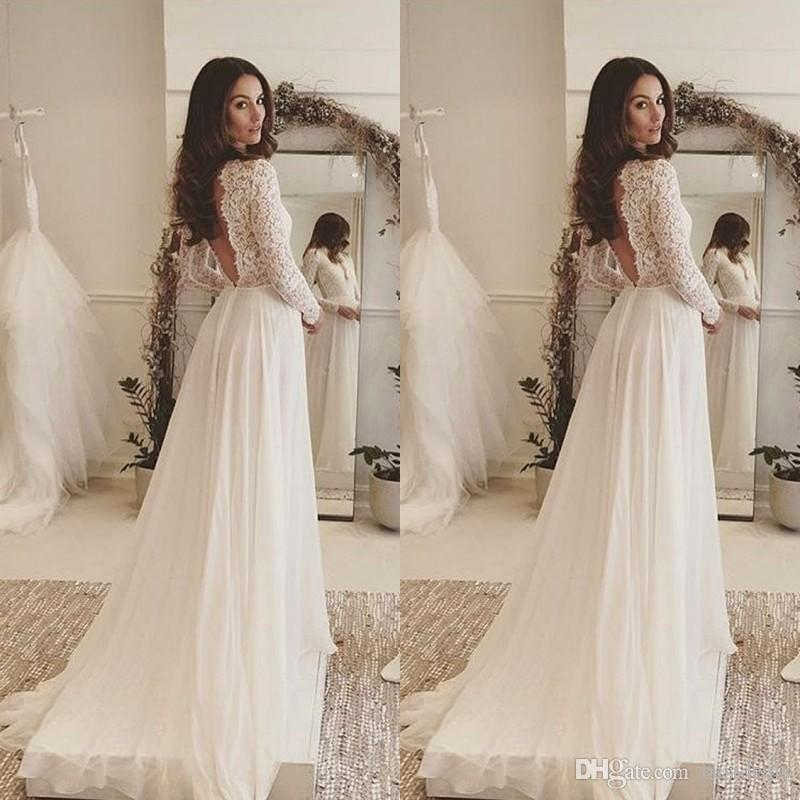 2018 Simple Elegant Bohemian Wedding Dresses Deep V Neck Lace Long Sleeves Chiffon Floor Length Beach Backless Bridal Gowns