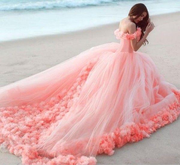 Красочные бальное платье стиль пляж свадебные платья с плеча ручной работы цветы корсет зашнуровать обратно розовый светло-фиолетовый синий персик платье невесты