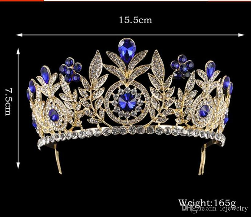 Baroque Red Blue Crystal Bridal Tiara Vintage Gold Rhinestone Diadem Pageant Crown With Combs Headband Wedding Hair Accessories Jewelry Pins
