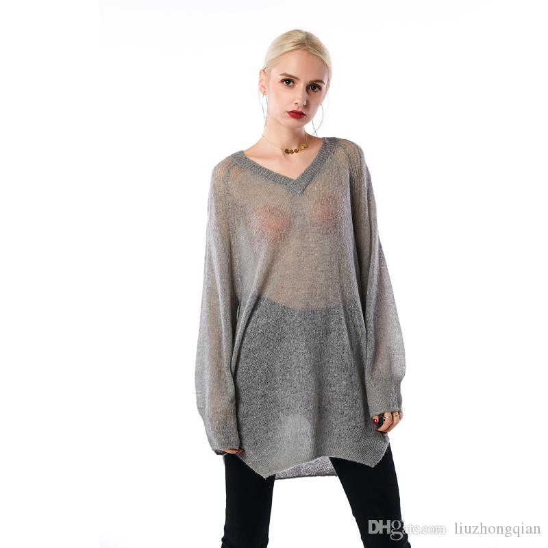 Beauty Garden Women Sweater New Fashion Hollow Out Kintted long Sleeve Sheer Mohair Pullover Sweater