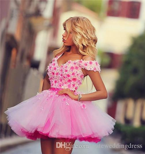2017 Pink Off Shoulder Short Homecoming Dresses With Applique Tiered Ruffle Prom Gowns Back Lace-Up Custom Made Mini Cocktail Gowns Elegant