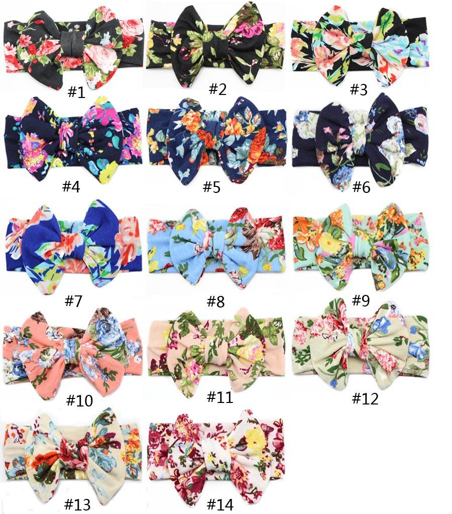 14 color Big bow belt Children printing Kids Baby Flower Headbands 2017 new Bohemian Hair Accessories Head Wrap Girls Childrens