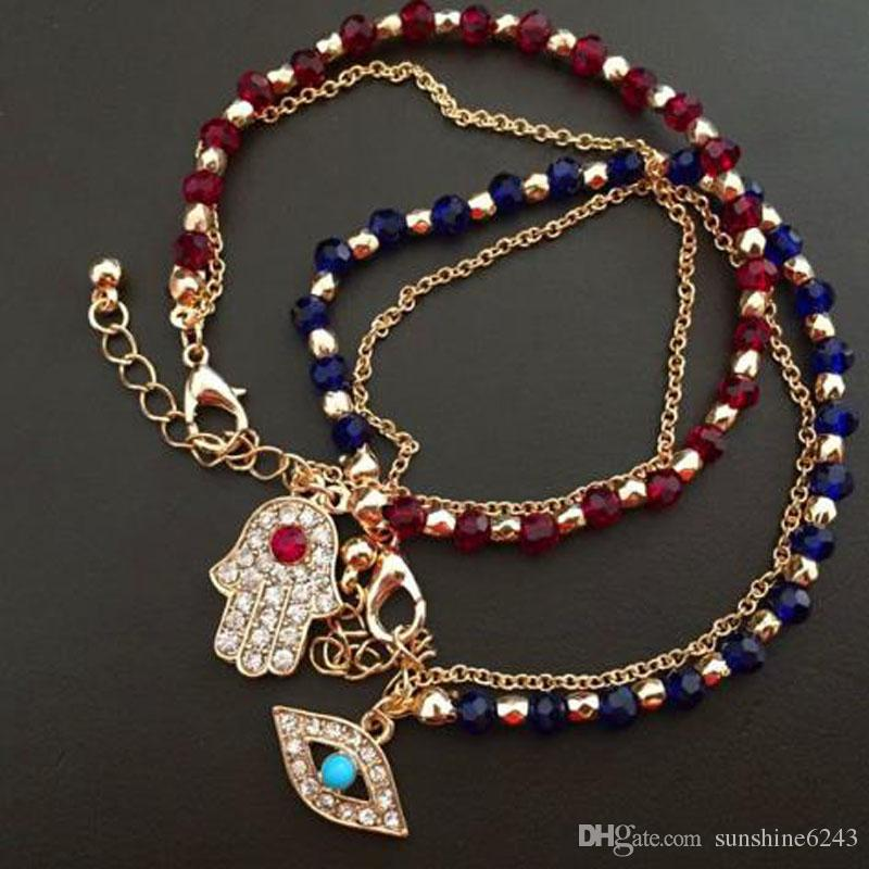 Fashion Colorful Fatima Hand Rotation Evil Eye Charms Crystal Glass beads Bracelets For Men Women Gifts