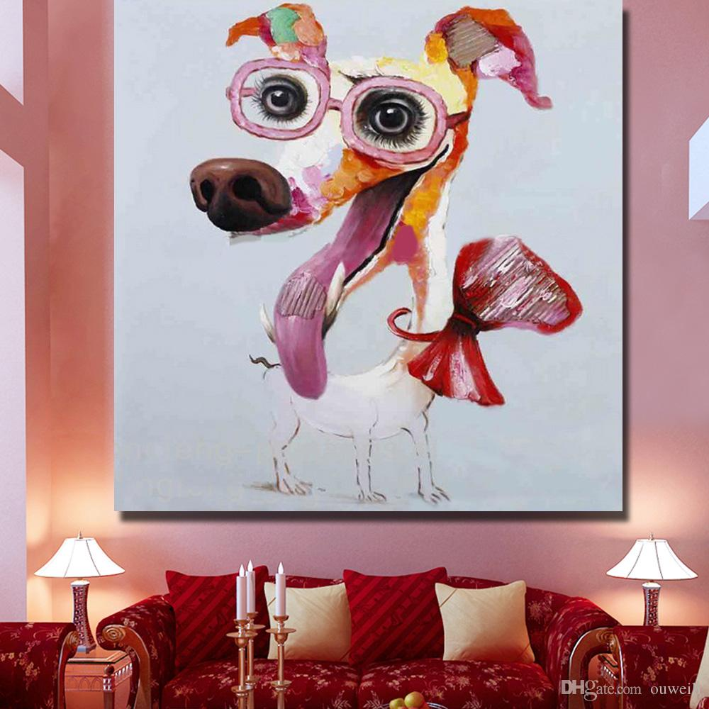 fashion dog acrylic pop art dog chien oil painting for modern home goods decor abstract canvas art