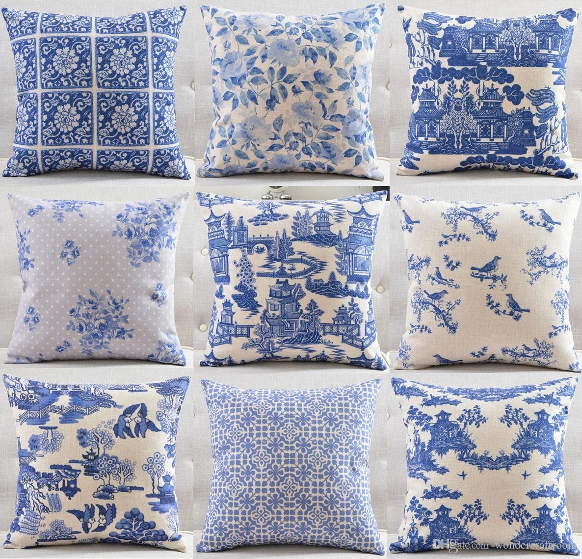 The Blue And White Porcelain Pattern Cushion Covers Chinese Ink Painting  Building Tree Flower Bird Cushion Cover Linen Cotton Pillow Case Outdoor  Patio ...