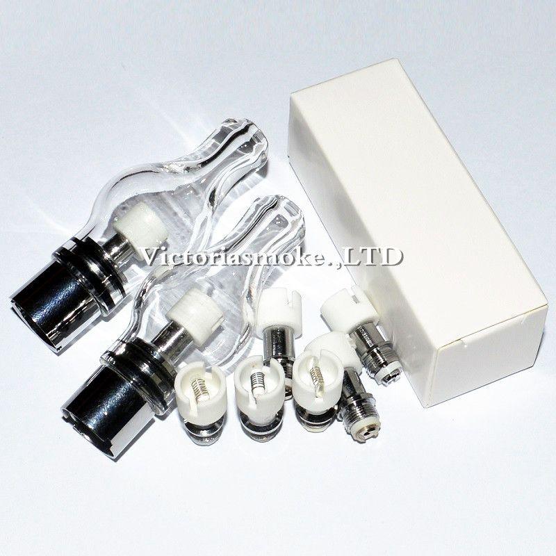 MOQ=Glass Globe Atomizer Dry Herb Vaporizer Replacement Wax Vapor Tank with Dual Quartz Ceramic Cotton Coil Head for EGO T Evod