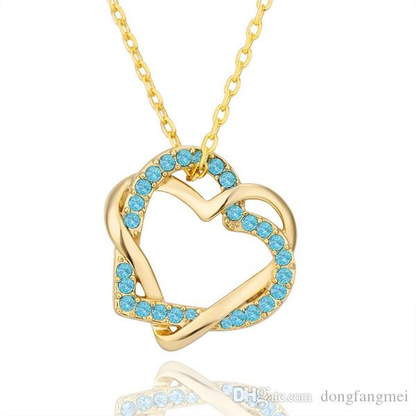 Fashion design Yellow Gold blue crystal jewelry Necklace for women DGN493,Heart 18K gold gem Pendant Necklaces with chains