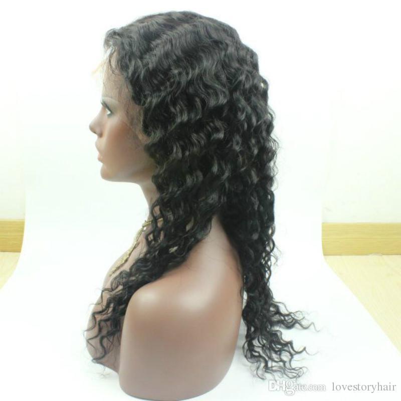 Grande vague profonde perruque de dentelle / dentelle perruques avant cheveux bébé 100% brésilien perruque de cheveux humains non transformés pour femmes noires