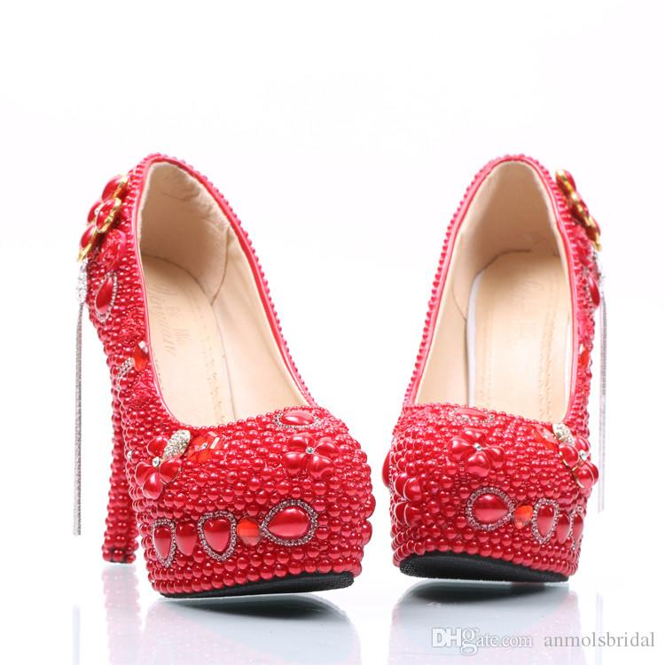 5 8 11 14CM Heels Red Pearls Gem Tassel Cinderella Shoes Hand-made Prom Evening High Heels Bridal Bridesmaid Wedding Shoes 142