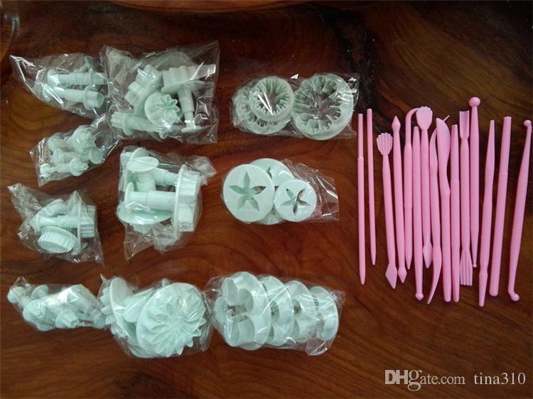 47 stücke kolben fondantschneider kuchen werkzeuge cookie keks kuchenform form handwerk diy 3d sugarcraft kuchen dekorieren tools blume set