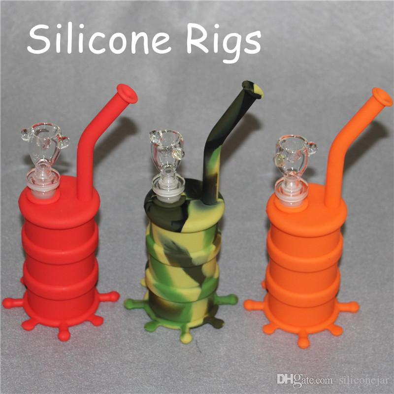 Silicon Oil Drum Rigs Silicone Hookah Bongs Silicon Dab Rigs Cool Shape silicone dab mats good quality and DHL