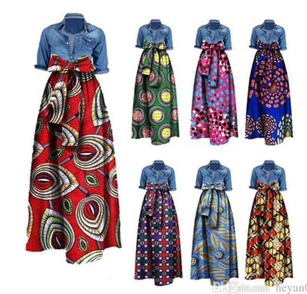 1544a438ab7 2019 Womens African Print Dashiki Dress Long Maxi A Line Skirt Printing  Bust Skirt Ball Gown Maxi Skirts 20 Colour S 6XL From Huhu930
