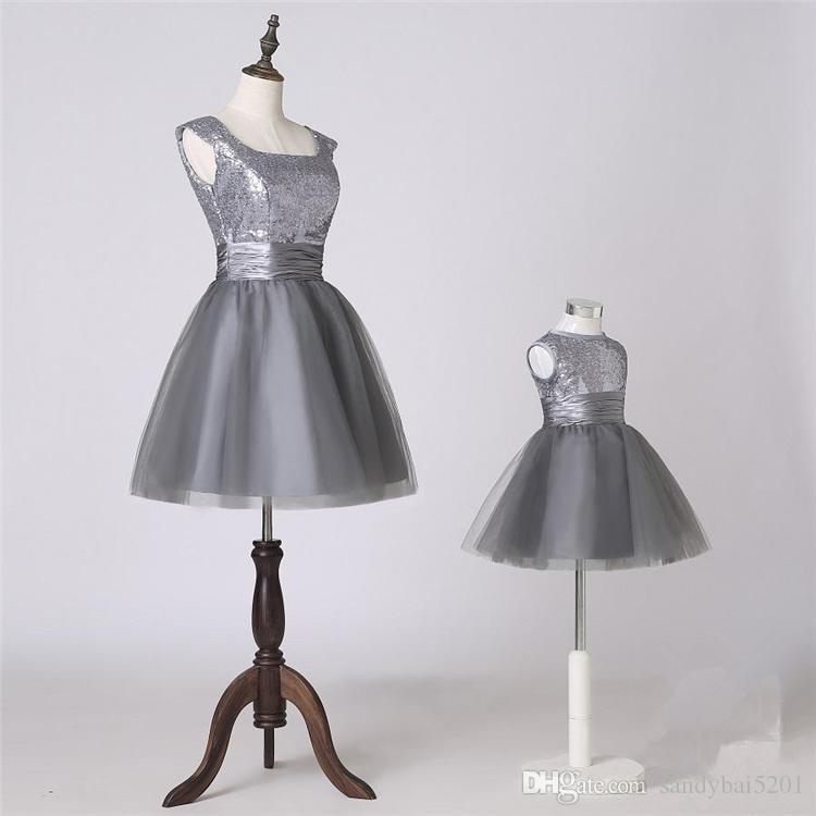 Wedding Birthday Sequined Dress Mother Daughter Tulle Dresses 2020 Mom and Me Gray Matching Dress Women Dresses Girls Tutu Dress S314