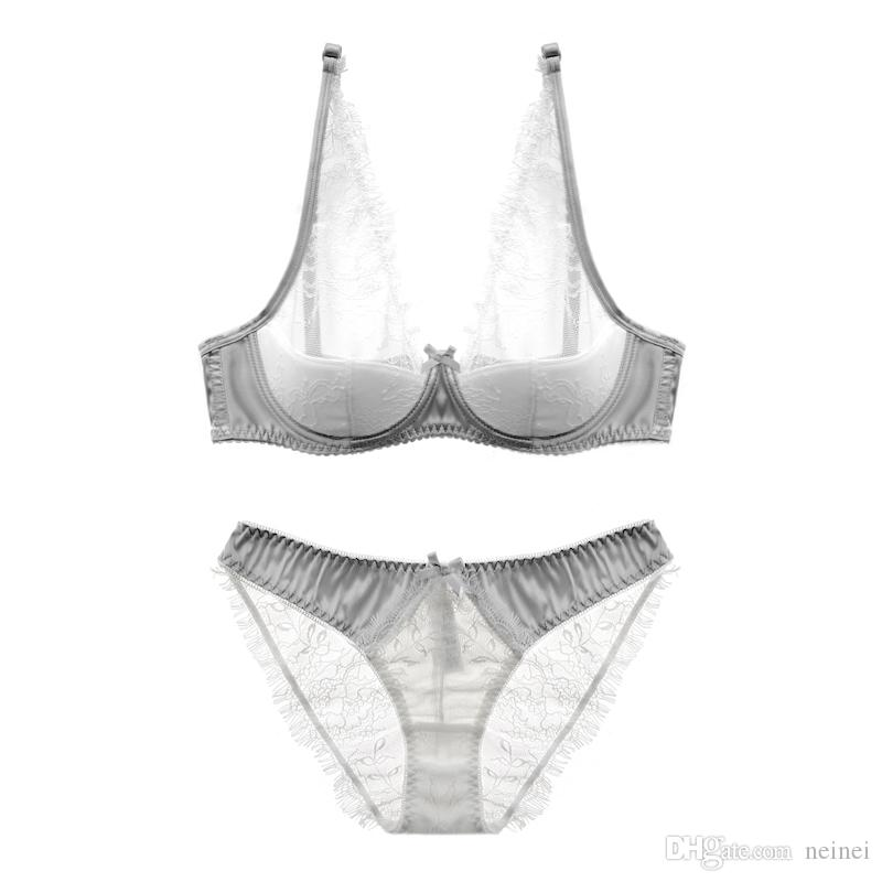 08444040bb 2019 Europe Style Thin Cup Cotton Young Ladies Underwear Lash Transparent  Sexy Women Summer Bra Set Lace Female Lingerie Plus Size From Neinei