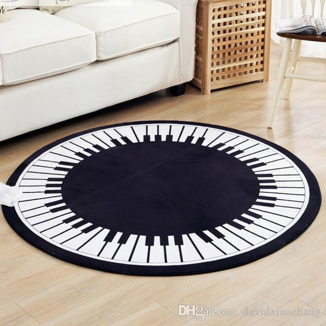 Acheter Europe Classique Noir Blanc Rond Tapis Polyester Piano