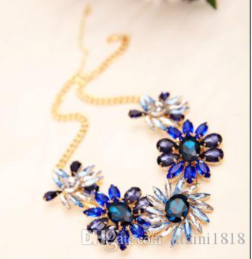2017 ТОП новейшие мода ювелирные изделия изысканный горный хрусталь кулон ожерелье драгоценный камень цветок цепи ожерелье для женщин #N011