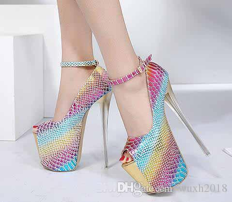 b28c936c11b Best Selling Women Extreme High Heels Rainbow Colorful Platform Serpentine  Pumps Peep Toe Buckle Strap High Heel Shoes Heeled 16cm Slippers For Men  Loafer ...