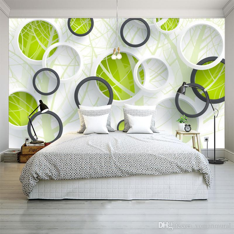 Custom Photo Wall Mural Abstract Tree 3d Circles Living