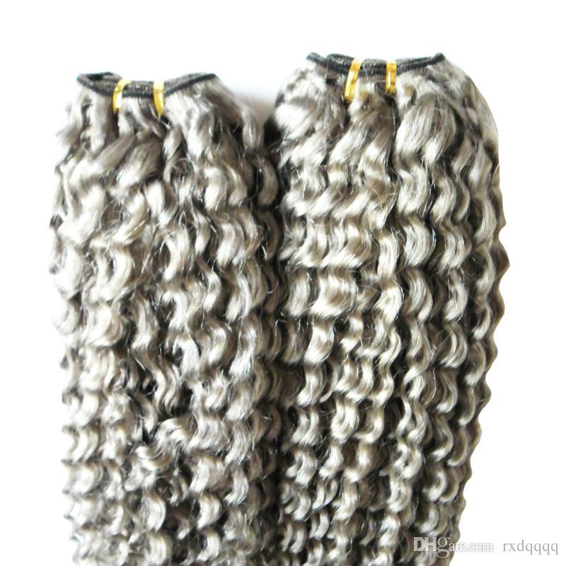 غريب مجعد الشعر البكر حزم رمادي الشعر نسج 200 جرام 2 قطع الشعر البشري حزم مزدوجة لحمة