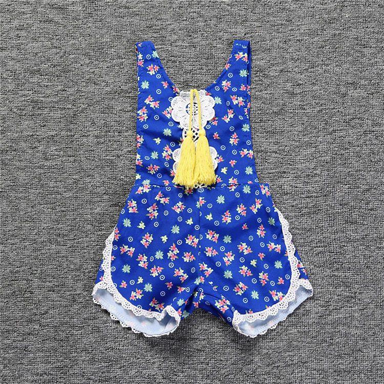 Baby Kids Tassels Rompers Onesies Overalls Little Girls Babies Floral Printing Slip Jumpsuits Children Backless Suspender Overalls For 0-4T