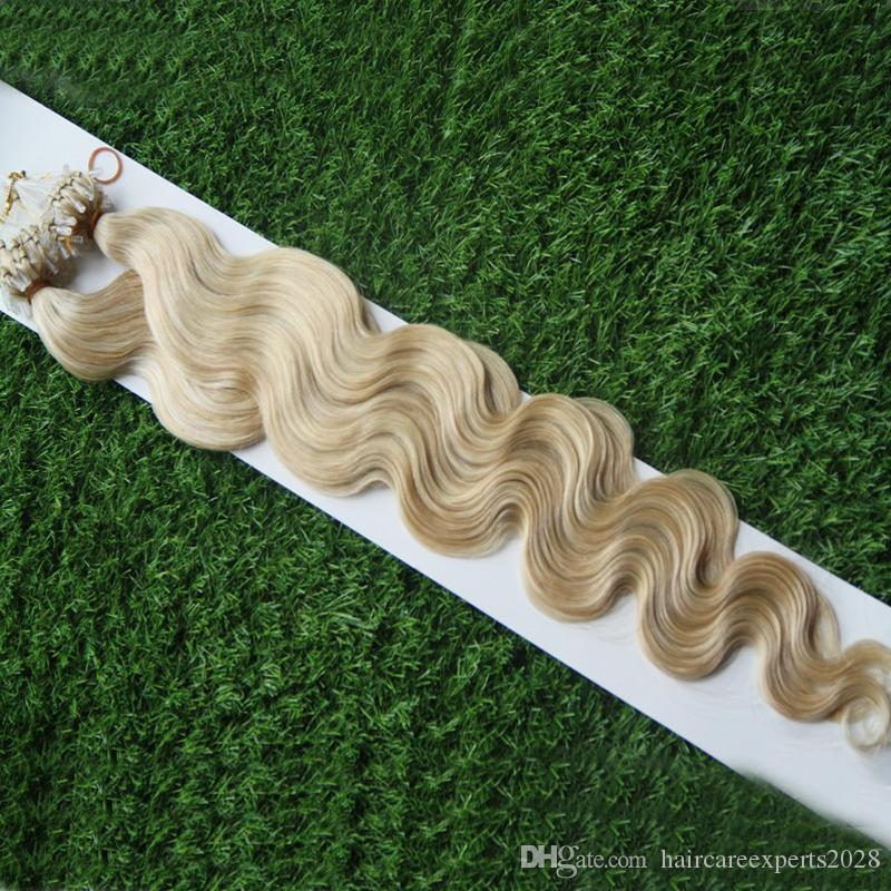 Mikroschleife schellt goldene blonde Bündel Mikroschleifen-Haar-Verlängerungen 1g / brasilianische Körper-Wellen-blondes Haar-Mikroring-Haar