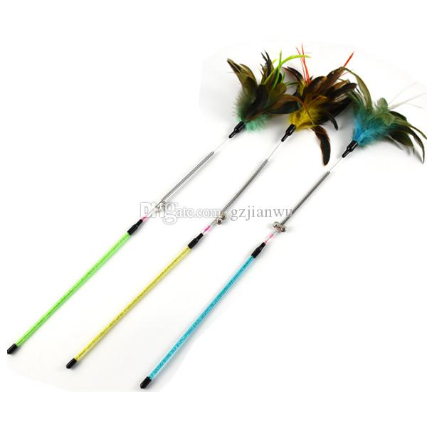 Top quality Spring Pet cat toy Cute Design bird Feather Teaser Wand Plastic Toy for cats