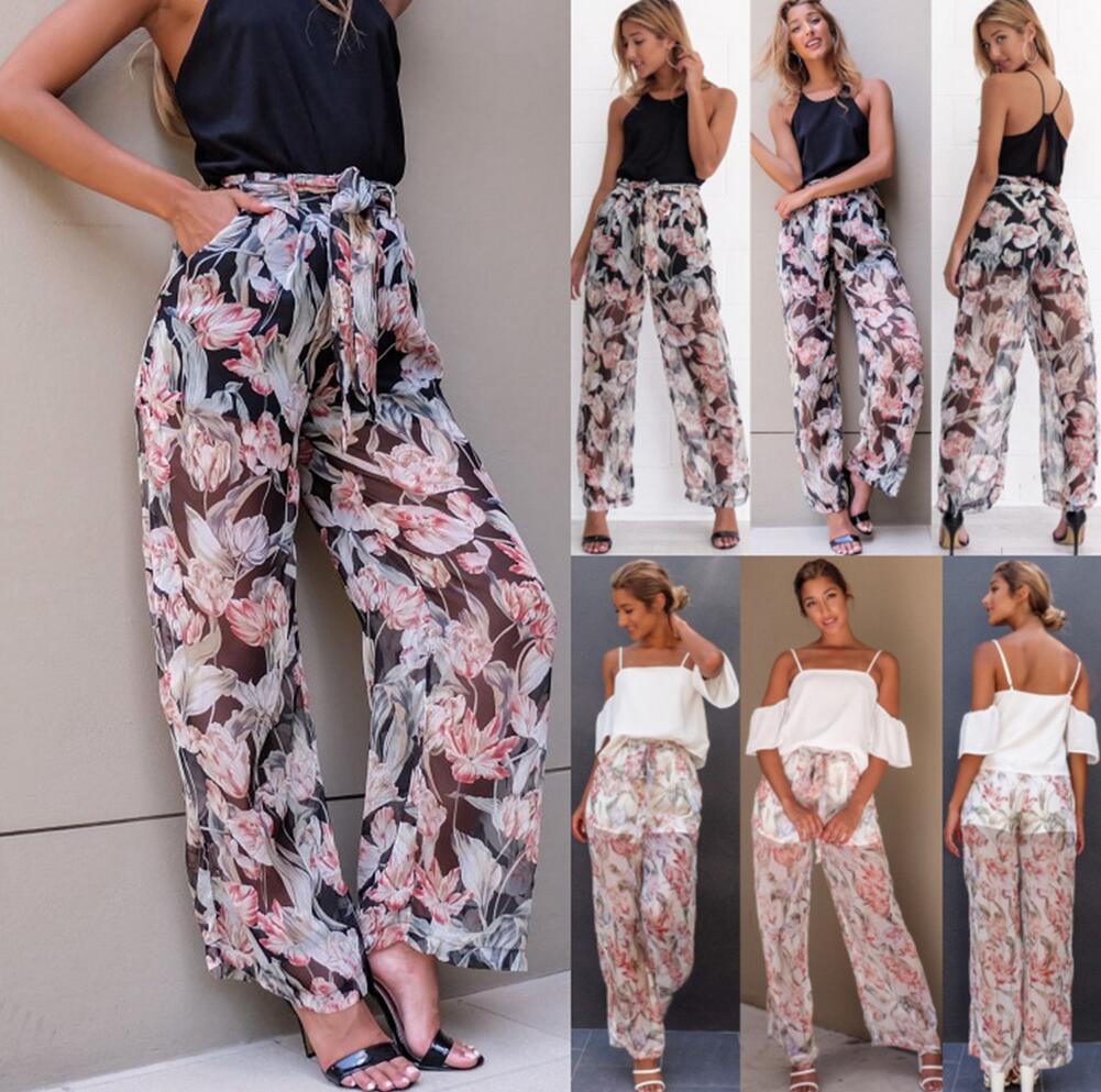 f89f886894ed 2019 Summer Fashion High Waist Chiffon Wide Leg Pants Female Loose Casual  Boho Print Beach Long Pants Trouser For Women From Haoyunlai2017, $13.07 |  DHgate.