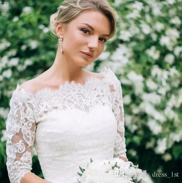 Элегантный 2017 кружева чай длина свадебные платья с половиной рукава иллюзия Бато лук пояс страна сад свадебные платья на заказ EN9113