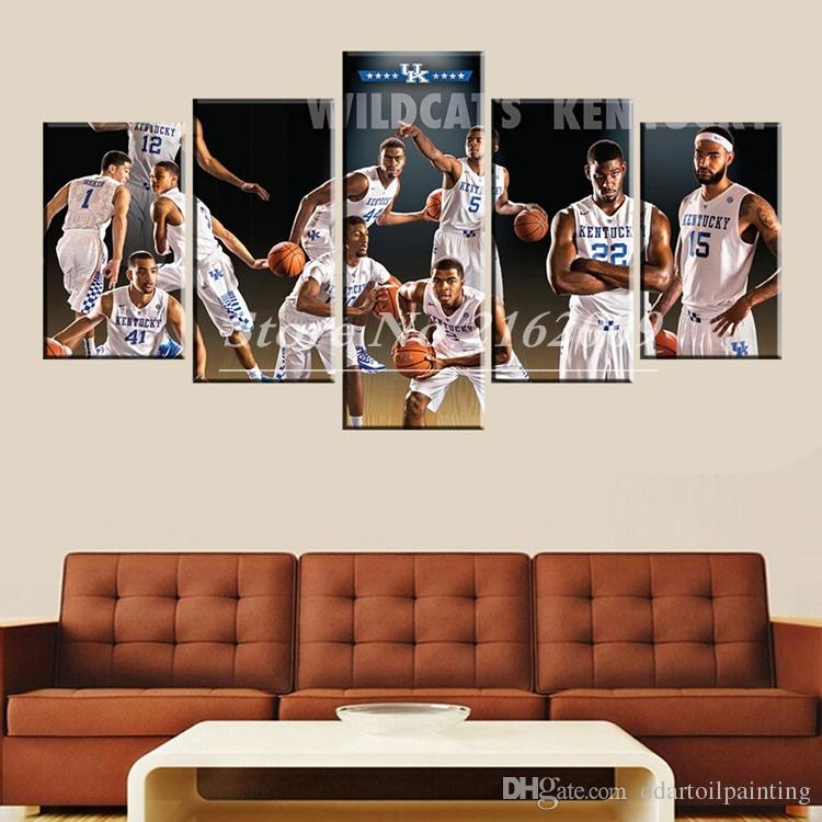 Unframed 5 Panel wall art design Basketball Oil Paintings living room decor Pictures Sports Posters Modern Home Bedroom Background