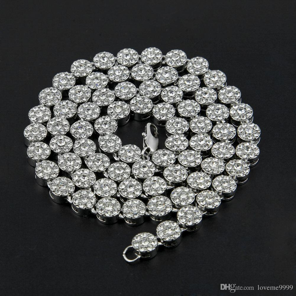 남자 힙합 블링 StonevJewlery 24K 솔리드 골드 도금 된 마이애미 큐 바인 링크 반짝 이는 라운드 전체 크리스탈 라인 석 긴 목걸이