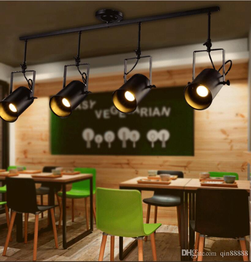 빈티지 로프트 천장 조명 1/2/3/4 머리 창조적 인 로프트 트랙 램프 천 가게 커피 바 등 의류 TV 바 배경 램프
