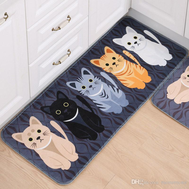 2018 Modern Kitchen Mats Carpet Non Slip Mat Kawaii Welcome Mat Pet Cat  Print Bathroom Kitchen Floor Mats In The Living Room From Monamona, $37.19  | Dhgate.