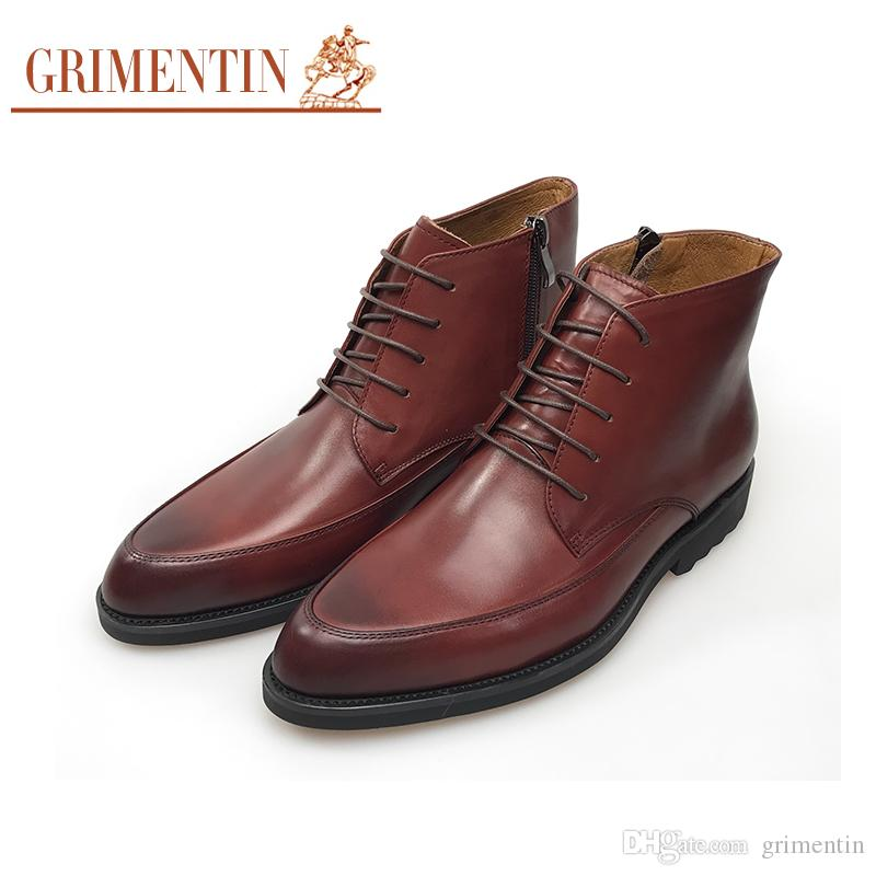 d6b4afd0336b GRIMENTIN Hot Sale Brand Mens Boots Shoes Genuine Leather Business Shoes  Lace Up Brown Mens Ankle Boots For Office Men Dress Shoes Fashion Rain Boots  For ...