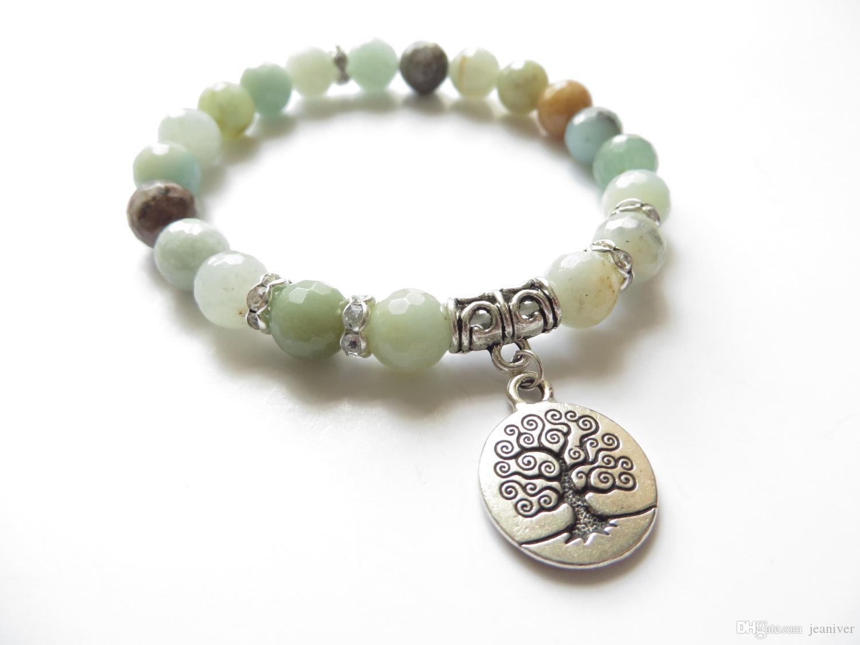 Arbre de vie Mala Bracelet Yoga Bijoux Poignet Face Amazonite Méditation Mala Bracelet Guérison Anniversaire Cadeau Unique NS1121