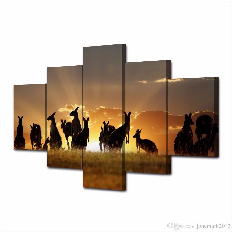 / Set Encadrée HD Imprimé Coucher De Soleil Kangourous Image Mur Impression Affiche Toile Peinture À L'huile Abstrait Mur Art