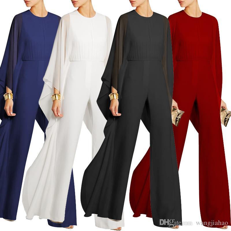 801fc7bc1be2a 2019 Wide Leg Elegant Jumpsuits Black V Neck Embellish Cuffs Long Mesh  Sleeves Plus Size XXXL Overalls For Women Combinaison Femme From  Wangjiahao