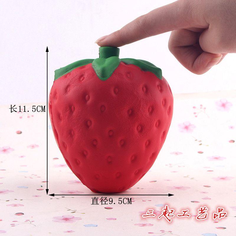 Оптовая 12 см большой колоссальный клубника болотистый Джамбо моделирования фруктов Каваи искусственный медленный рост squishies queeze игрушка сумка телефон Шарм