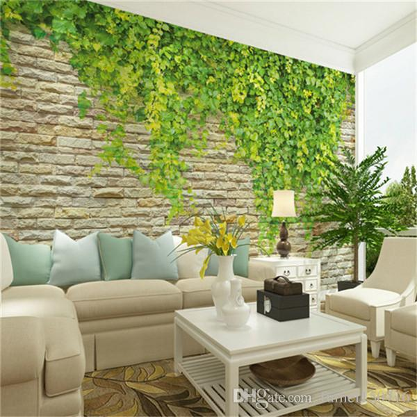 wallpaper for living rooms ideas green leaves large mural brick wall rural wallpaper 23437