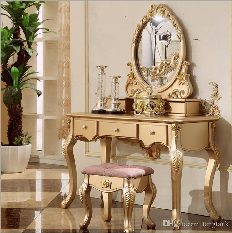 Factory Price RoyalEuropean Mirror Table Modern Bedroom Dresser French Furniture White Dressing Pfy10069 Online With
