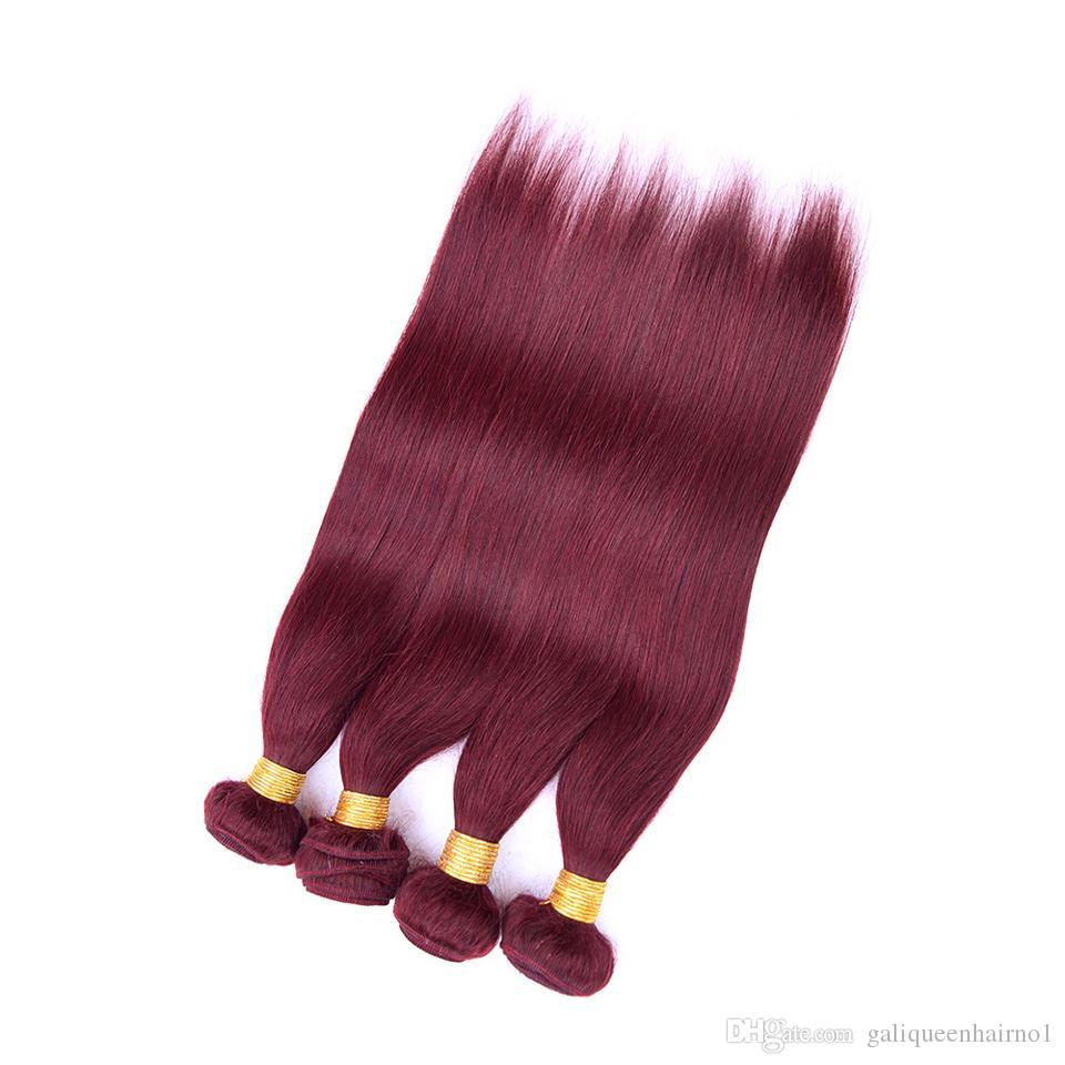 Бразильские прямые человеческие волосы девственницы соткет Ombre Бургундия 99J цвет двойной утки 3Bundles/серия 4Bundles/серия наращивание волос