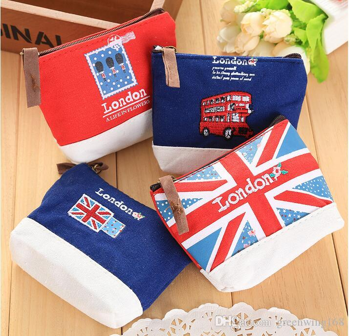 Fashion Mini Cute Kids boy Coin Purse Canvas Key Bag Zipper Children Wallet Pouch Cartoon Sewing London Bus England Flag Soldier
