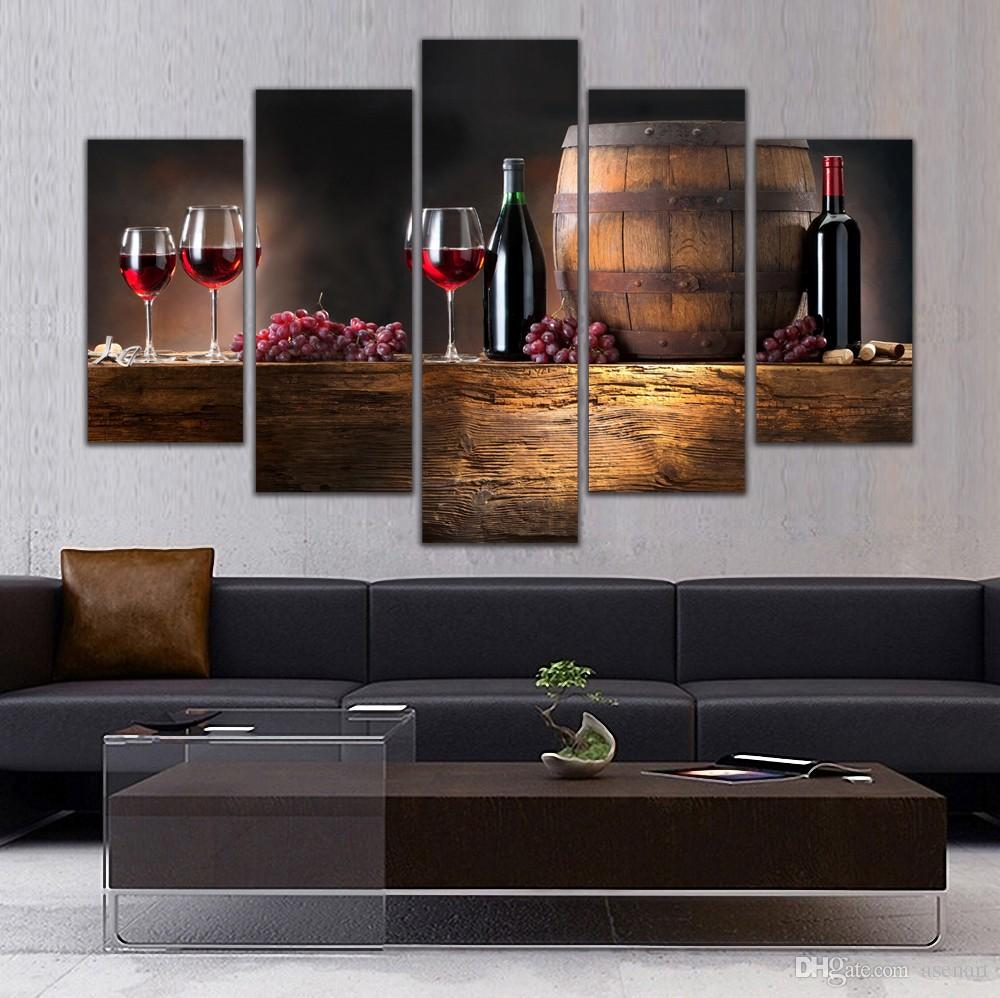 5 Panel Painting Glass Wine Fruit Painting Canvas Art Prints Wall Pictures for Living Room Kitchen Dining Room Home Decoration Unframed