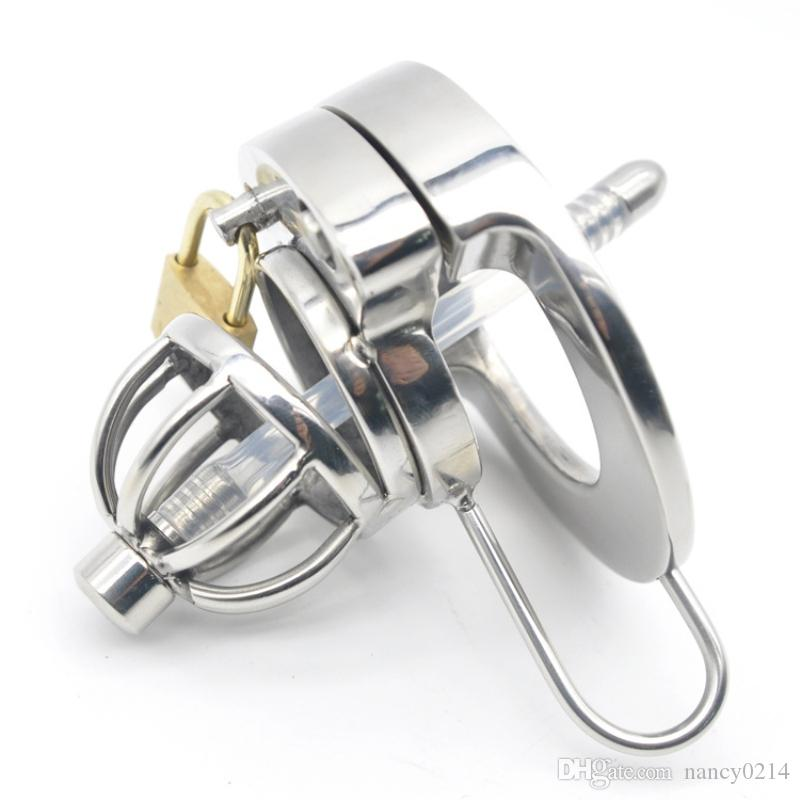 Chastity Cage Urethral Tube 316L Stainless Steel with Dilator Urethral Sounds New Penis Cock Ring Dick Cage Cock Sleeve Toy for Man G211
