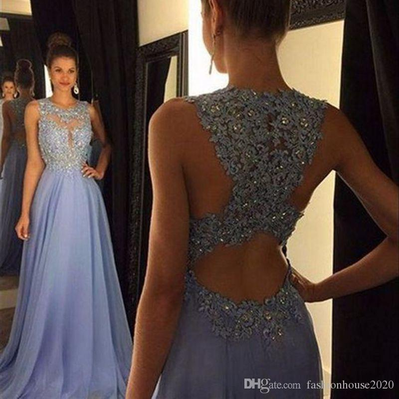 Reasonable A-line Long Evening Dress 2018 New Sexy Backless Appliques Beading Party Dress Illusion V-neck Robe De Soiree Haute Couture Weddings & Events