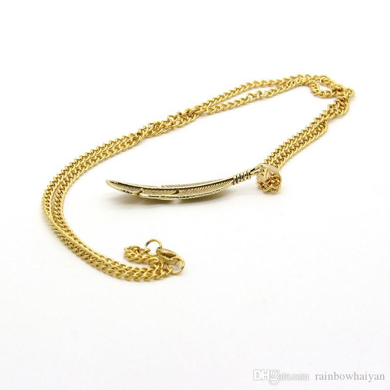 Collana pendenti in piume placcate oro catena in lega di acciaio inossidabile all'ingrosso placcato oro e argento